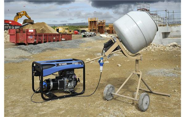 Portable generating set on a construction site